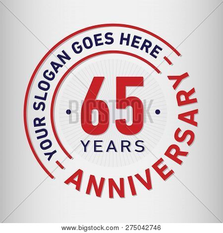 65 Years Anniversary Logo. 65th Vector And Illustration.