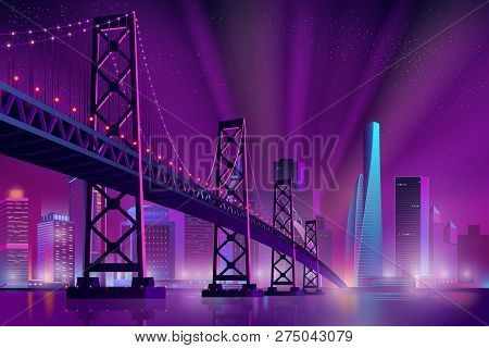 Modern Metropolis Night Cityscape Neon Colors Cartoon Vector With Skyscrapers On Sea, River Shore, S
