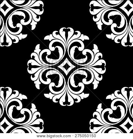 White Vintage Ornament With Black Background, Baroque Ornament, Scroll Ornament, Engraving Border Or