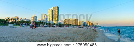MIAMI BEACH,UNITED STATES - DECEMBER 3,2018 : Panoramic view of South Beach at sunset with a view of the Miami Beach skyline