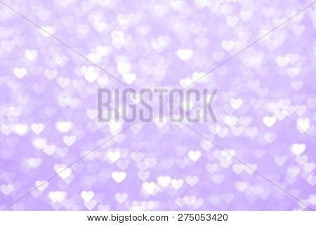 Blur Heart Purple Background Beautiful Romantic, Glitter Bokeh Lights Heart Soft Pastel Shade Purple
