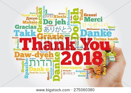 Thank You 2018 Word Cloud In Different Languages, Concept Background With Marker