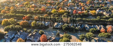 Panoramic Top View Residential Neighborhood And Sprawl In Autumn Season In North Of Dallas
