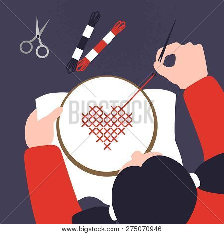 Top View Of A Table With Cross Stitching Hands. Vector Illustration Of Sewing Workshop. Creative Cra