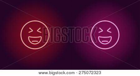 Neon Illustration Of Grinning Emoji. Vector Icon Of Cartoon Laughing Emoji With Narrowed Eyes In Out