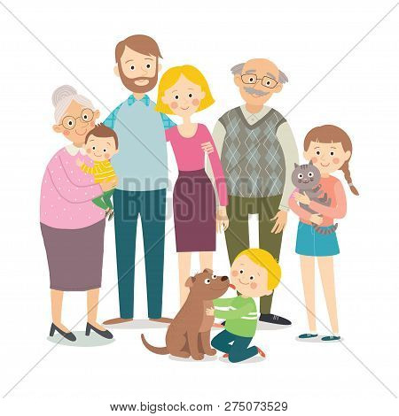 Happy Family. Father, Mother, Grandfather, Grandmother, Children And Pets. Family Portrait. Cartoon