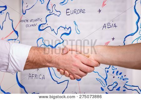Business Male Partnership Handshake Concept.photo Two Mans Handshaking Process.successful Deal After