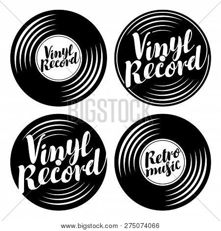 Vector Black And White Set Of Music Icons In The Form Of Vinyl Records With Calligraphic Inscription