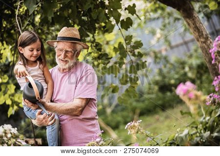Grandparent With His Grandchild Spending Time Together In Countryside