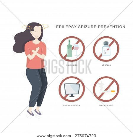 Epilepsy Seizure Pervention. Illustration Of Woman Having Seizure And Set Of Icons How To Avvoid Epi
