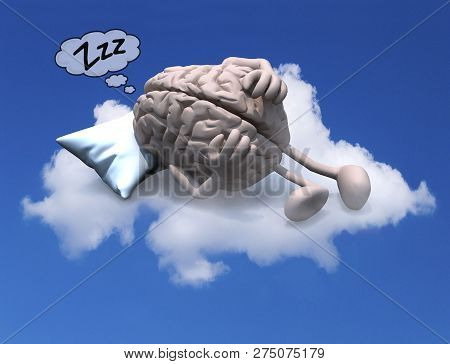 Human Brain With Arms And Legs Resting On A Pillow Above A Cloud, 3d Illustration