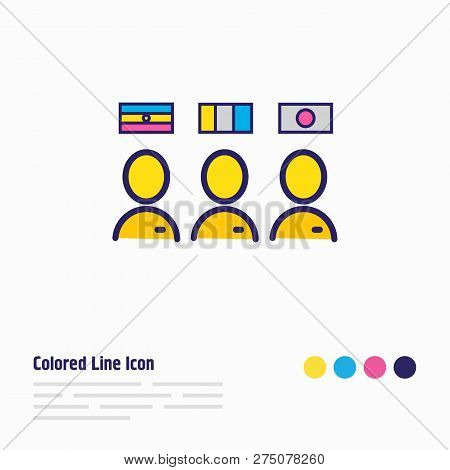 Vector Illustration Of Multilingual Staff Icon Colored Line. Beautiful Hotel Element Also Can Be Use