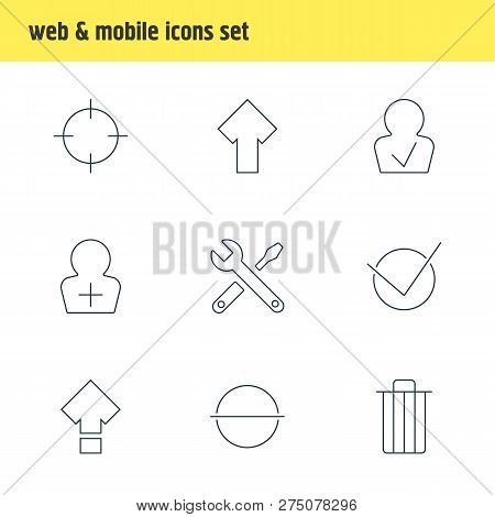 Vector Illustration Of 9 Interface Icons Line Style. Editable Set Of Repair, Screenshot, Trash And O