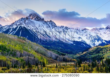 Sunrise View Of Mt. Sneffels On The Dallas Divide. Autumn Scenery In The Beautiful San Juan  Mountai