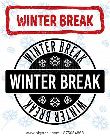 Winter Break Stamp Seals On Winter Background With Snowflakes In Clean And Draft Versions For Christ