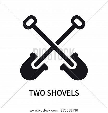 Two Shovels Icon Isolated On White Background. Two Shovels Icon Simple Sign. Two Shovels Icon Trendy