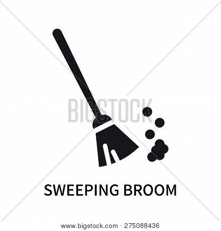 Sweeping Broom Icon Isolated On White Background. Sweeping Broom Icon Simple Sign. Sweeping Broom Ic
