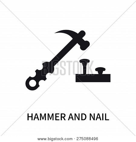 Hammer And Nail Icon Isolated On White Background. Hammer And Nail Icon Simple Sign. Hammer And Nail