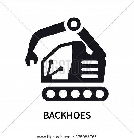 Backhoes Icon Isolated On White Background. Backhoes Icon Simple Sign. Backhoes Icon Trendy And Mode