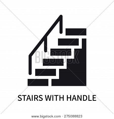 Stairs With Handle Icon Isolated On White Background. Stairs With Handle Icon Simple Sign. Stairs Wi