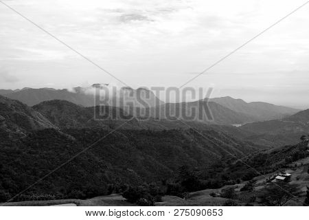 Dramatic Weather Conditions, Mountain Landscape In Black And White.phu Tub Berk In Petchabun Thailan