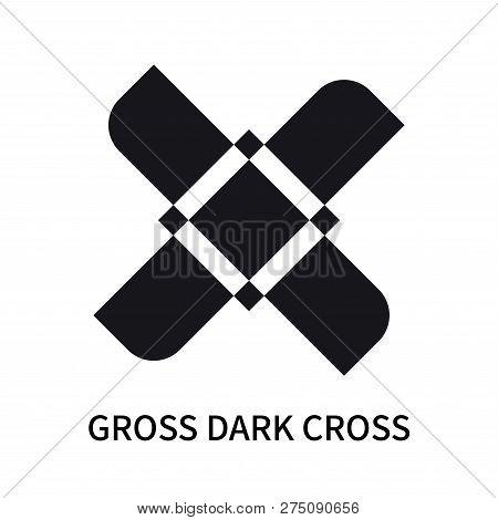 Gross Dark Cross Icon Isolated On White Background. Gross Dark Cross Icon Simple Sign. Gross Dark Cr