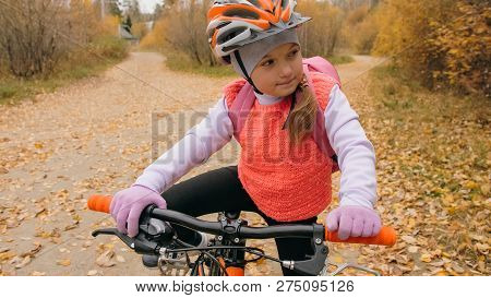 One Caucasian Children Walk With Bike In Autumn Park. Little Girl Walking Black Orange Cycle In Fore