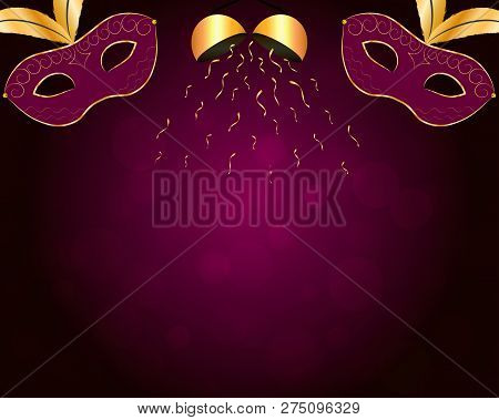 Carnival Background With Gilt Purple Mask, Gold Confetti Ball And Bokeh. Vector Eps 10.