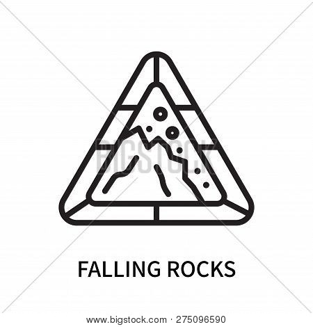 Falling Rocks Icon Isolated On White Background. Falling Rocks Icon Simple Sign. Falling Rocks Icon