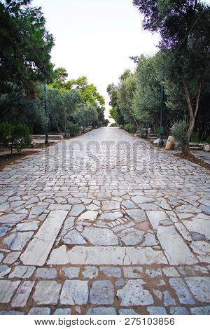 Central Entrance Avenue On Filopappou Hill In Athens