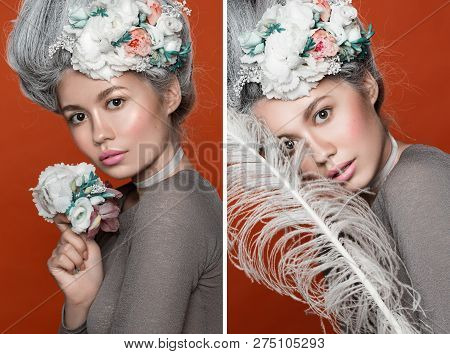 Close Up Beauty Portrait In Barocco Style. Collage Of Three Photos. Fashion Bright Pink Studio Backg