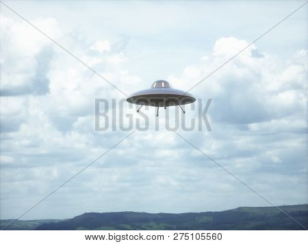 Unidentified Flying Object. Unidentified Object With Retro Style, Old Design. 3d Illustration.