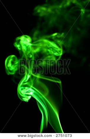 Green Smoke Isolated On Black Copy Space