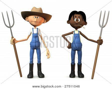 Cartoon Farmers Holding Pitchforks.