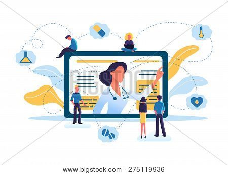 Medicine And Healthcare Concept, Telemedicine. Online Consultation By Internet With Doctor. Medical