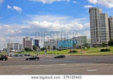 Minsk, Belarus-august 13, 2018: City Center Near Pobediteley Avenue.  It Was Named Pobediteley Avenu