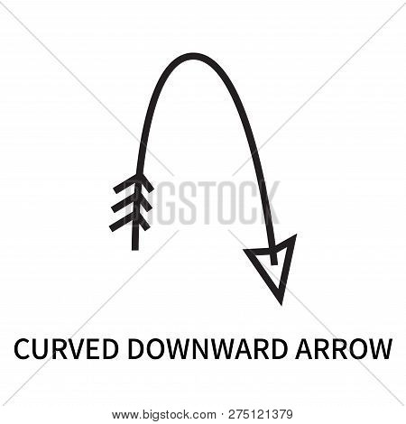 Curved Downward Arrow Icon Isolated On White Background. Curved Downward Arrow Icon Simple Sign. Cur