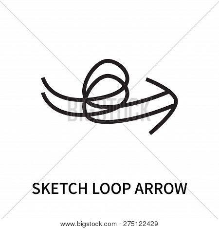 Sketch Loop Arrow Icon Isolated On White Background. Sketch Loop Arrow Icon Simple Sign. Sketch Loop
