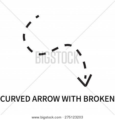 Curved Arrow With Broken Icon Isolated On White Background. Curved Arrow With Broken Icon Simple Sig