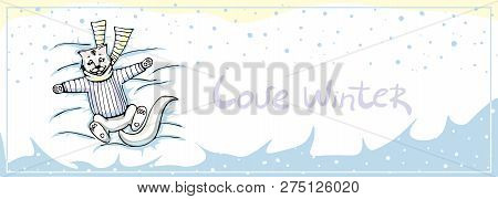 Vector Template  With A Cute Cat In A Scarf And Sweater Wallowing In The Snow And Falling Snowflakes