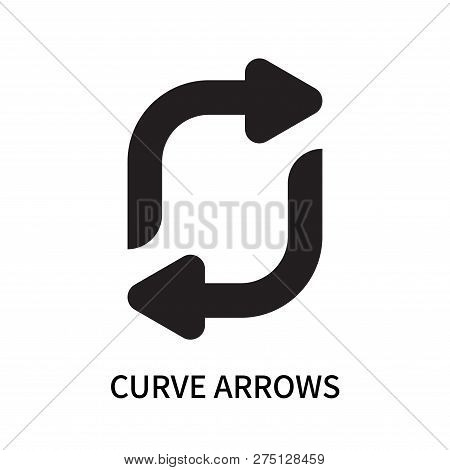 Curve Arrows Icon Isolated On White Background. Curve Arrows Icon Simple Sign. Curve Arrows Icon Tre