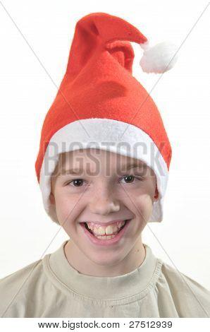 Happy Boy In Santa's Hat.