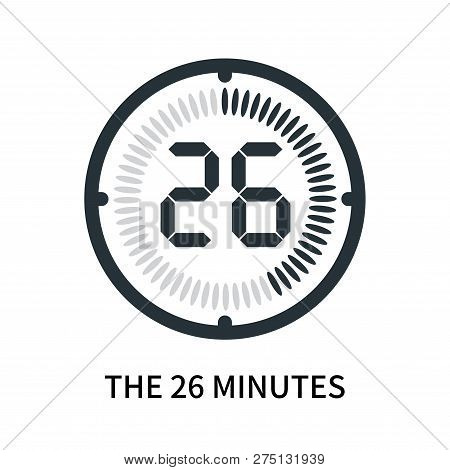 The 26 Minutes Icon Isolated On White Background. The 26 Minutes Icon Simple Sign. The 26 Minutes Ic