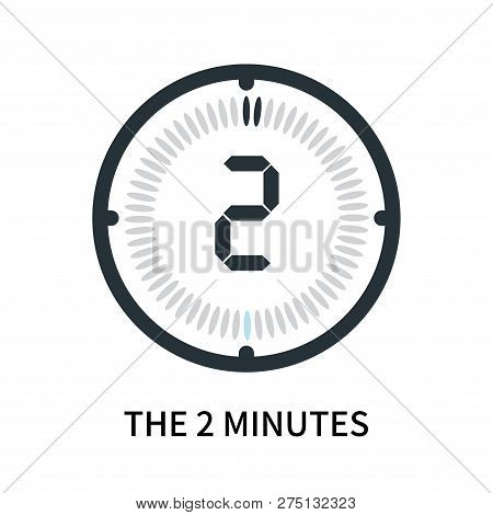 The 2 Minutes Icon Isolated On White Background. The 2 Minutes Icon Simple Sign. The 2 Minutes Icon
