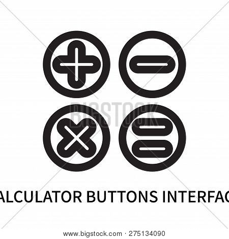 Calculator Buttons Interface Icon Isolated On White Background. Calculator Buttons Interface Icon Si