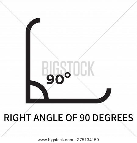 Right Angle Of 90 Degrees Icon Isolated On White Background. Right Angle Of 90 Degrees Icon Simple S