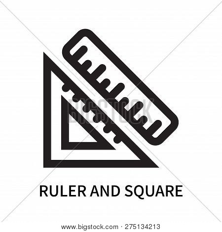 Ruler And Square Measuring Tools Icon Isolated On White Background. Ruler And Square Measuring Tools