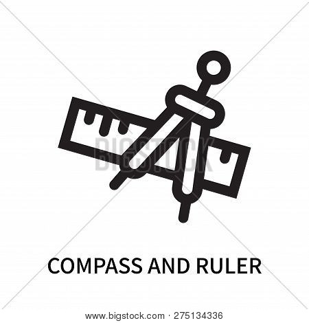 Compass And Ruler For Mathematics Icon Isolated On White Background. Compass And Ruler For Mathemati