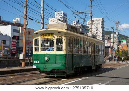 Nagasaki, Japan - October 22, 2018: Retro electric streetcar in Nagasaki