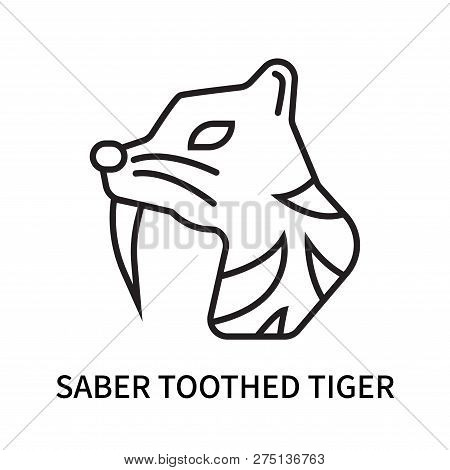 Saber Toothed Tiger Icon Isolated On White Background. Saber Toothed Tiger Icon Simple Sign. Saber T